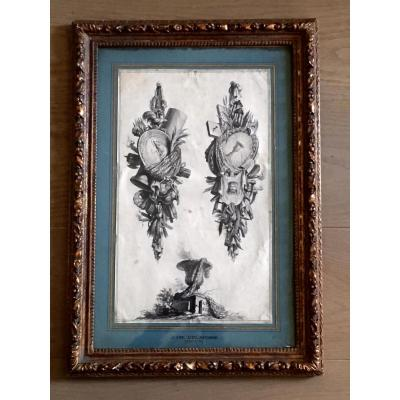 "Framed Drawing ""trophies"" By Jean-charles Delaosse"