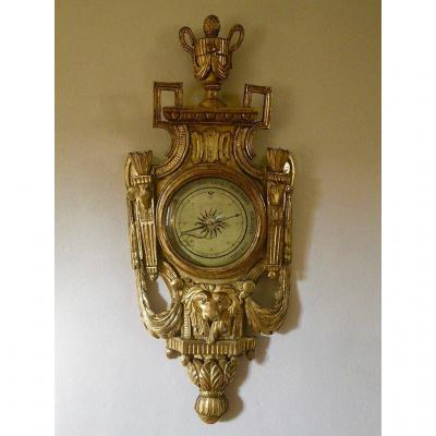 Superb Louis 16 period giltwood barometer,<br /> France, 18th century, Circa 1780,<br /> the dial signed <em>&quot;Castoldy in Dijon&quot;</em><br /> perfect original gilding condition.