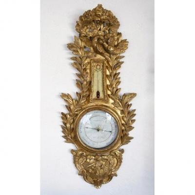 Louis 16 Period  Gilt Wood Barometer 18th