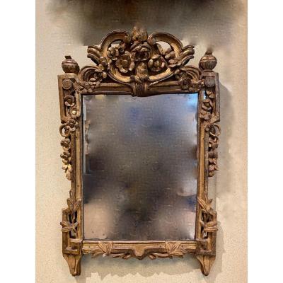 Miroir En Bois Sculpté Et Doré d'époque Louis XVI