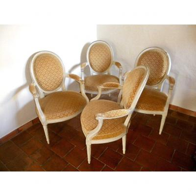 Set Of Four 18th Century Louis 16 Period Armchairs