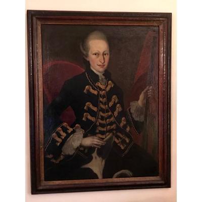 Peinture XVIIIe Portrait De Gentilhomme Chasseur Et Son Chien