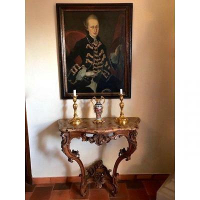 Console époque Louis XV chêne XVIIIe