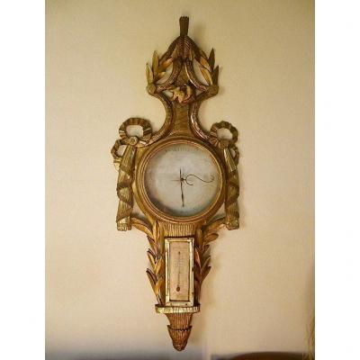 Louis 16 Period Giltwood Barometer 18th