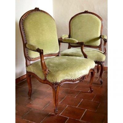 Pair Of Large  Louis 15 Period Armchairs 18th