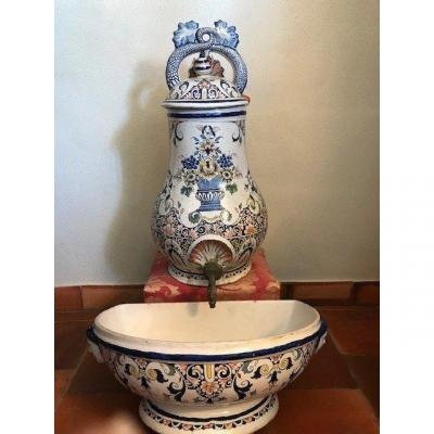 Fountain And Its Basin In Earthenware Rouen 19th
