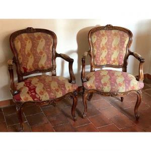 Pair Of Large Louis XV Walnut Armchairs Stamped