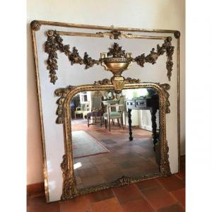 Louis 16 period painted &amp; giltwood Trumeau/ mirror,<br /> France, 18th century, Circa 1780,<br /> Great shape and good condition.<br /> Very elegant with original mercury glass mirror and wooden back.<br /> Restauration to paint and gilding.<br /> GREAT price !!!