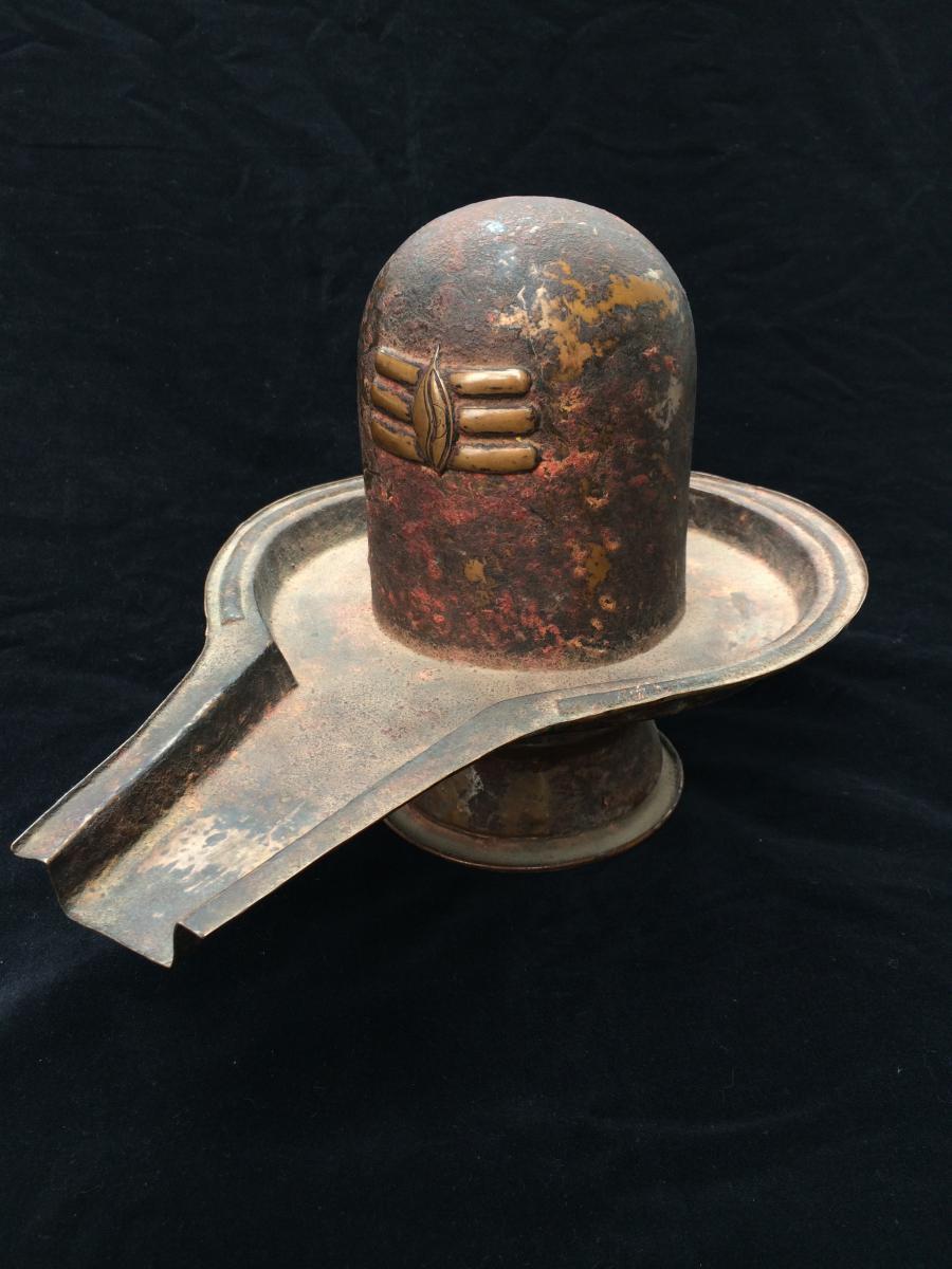 Shiva Lingam Embossed Copper Nepal Newar XIX Th