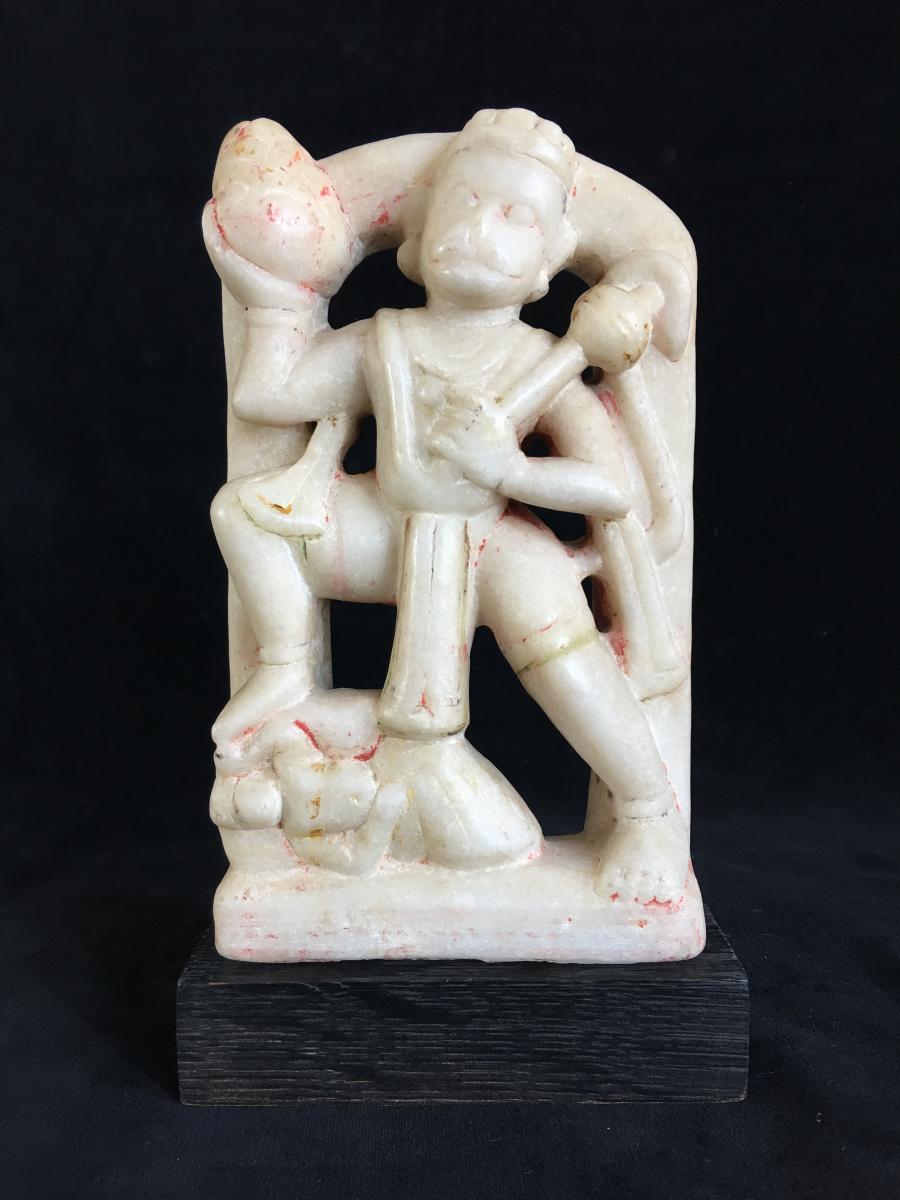 Hanuman, albâtre polychrome, Inde, XIX ème