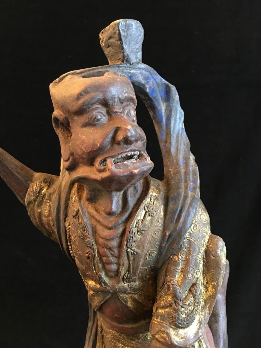 KUI XING , patron des lettrés, bois, Chine XVII ème-photo-4