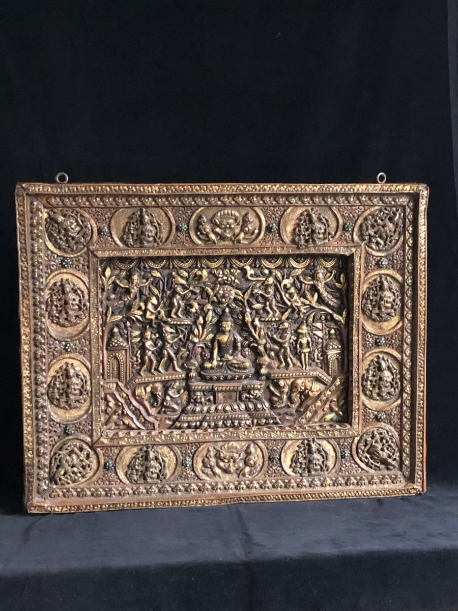 Large Repoussé Panel, Nepal, 19th C.
