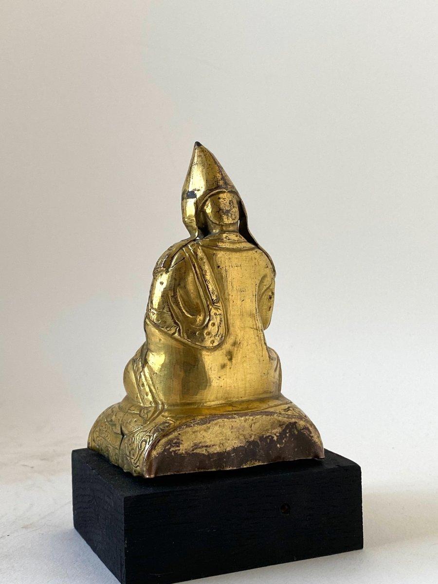 Lama, repoussé doré, Tibet, 18 ème-photo-3