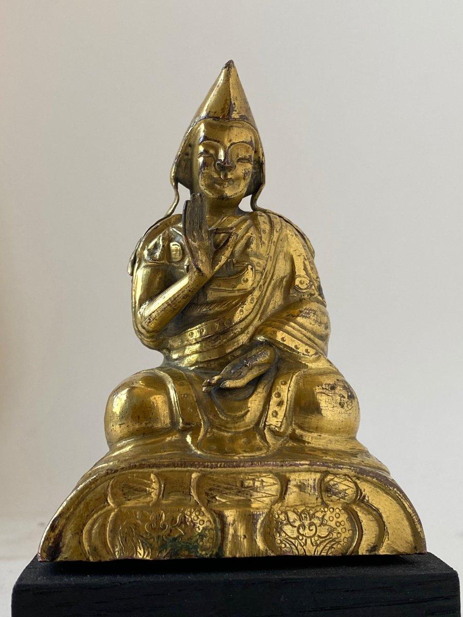 Lama, repoussé doré, Tibet, 18 ème