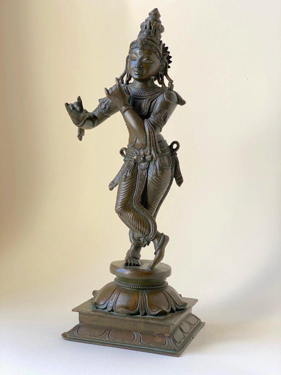 Krishna, bronze, Inde, 19ème