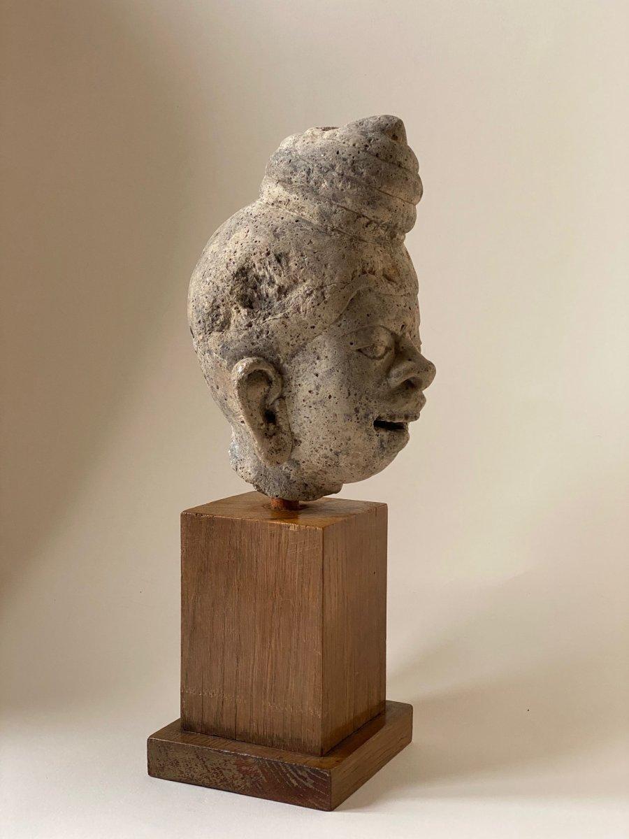 Tête de grotesque en pierre,  Birmanie 18ème-photo-2