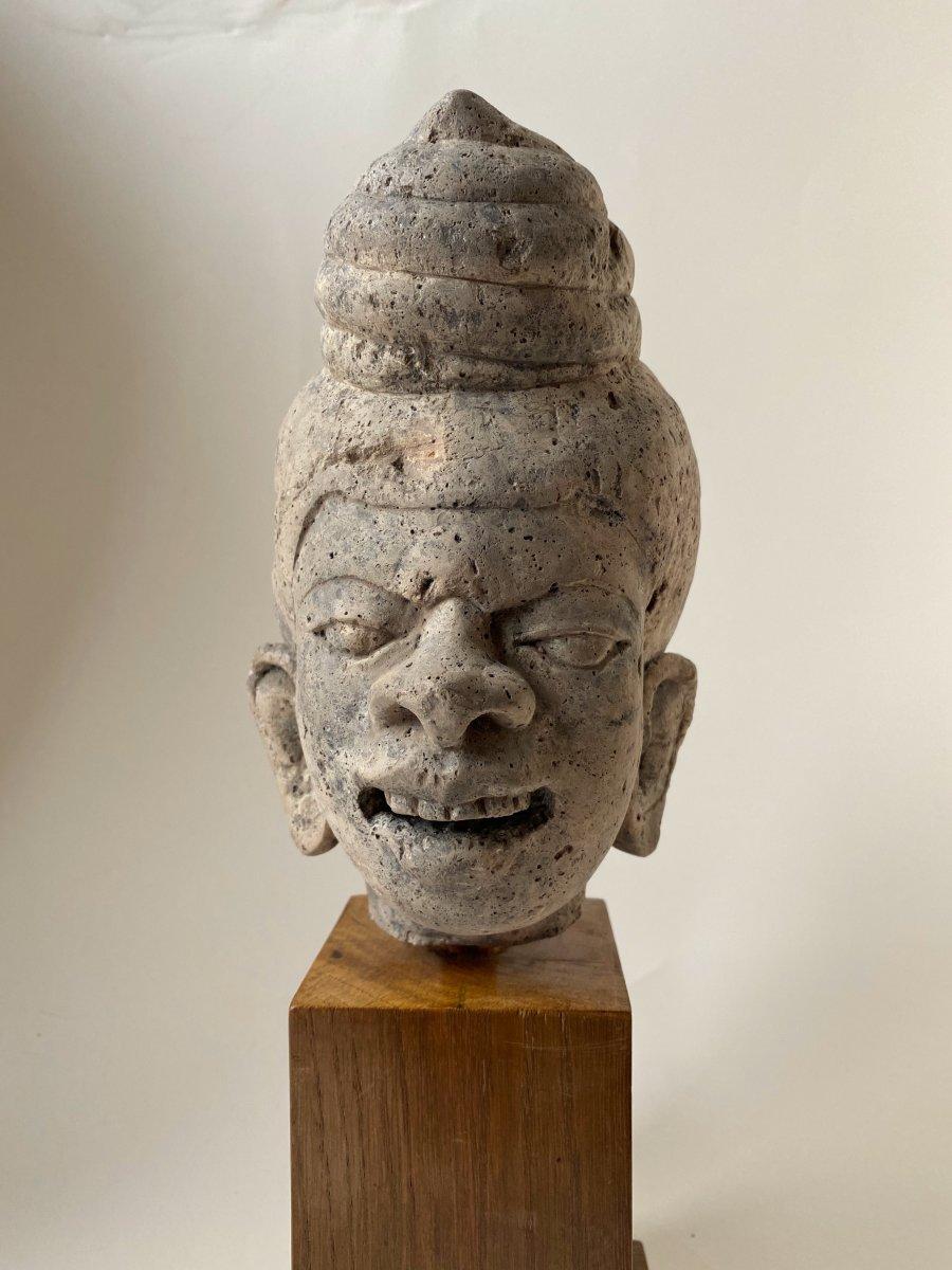 Tête de grotesque en pierre,  Birmanie 18ème-photo-3
