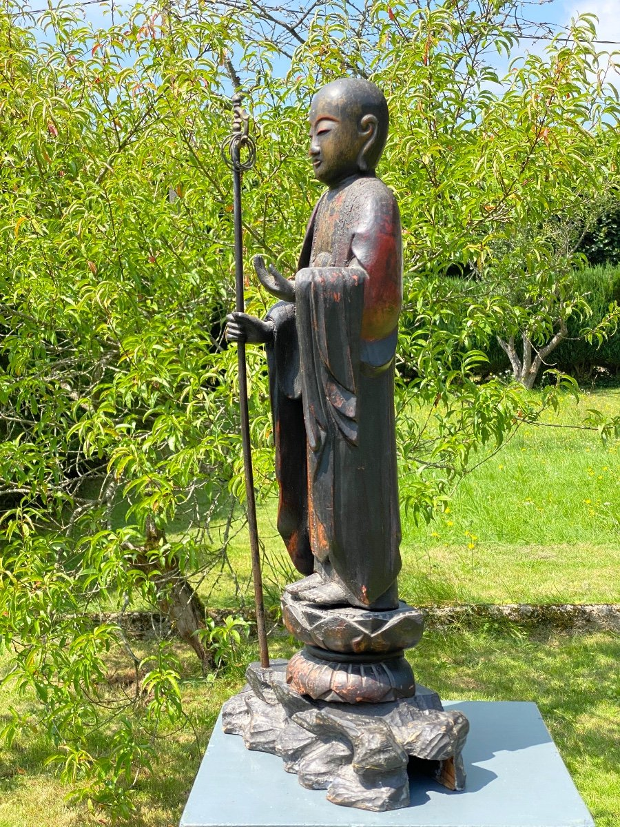 Bodhisattva Kshitigarbha, 65,5cm, Japon XIXème-photo-3
