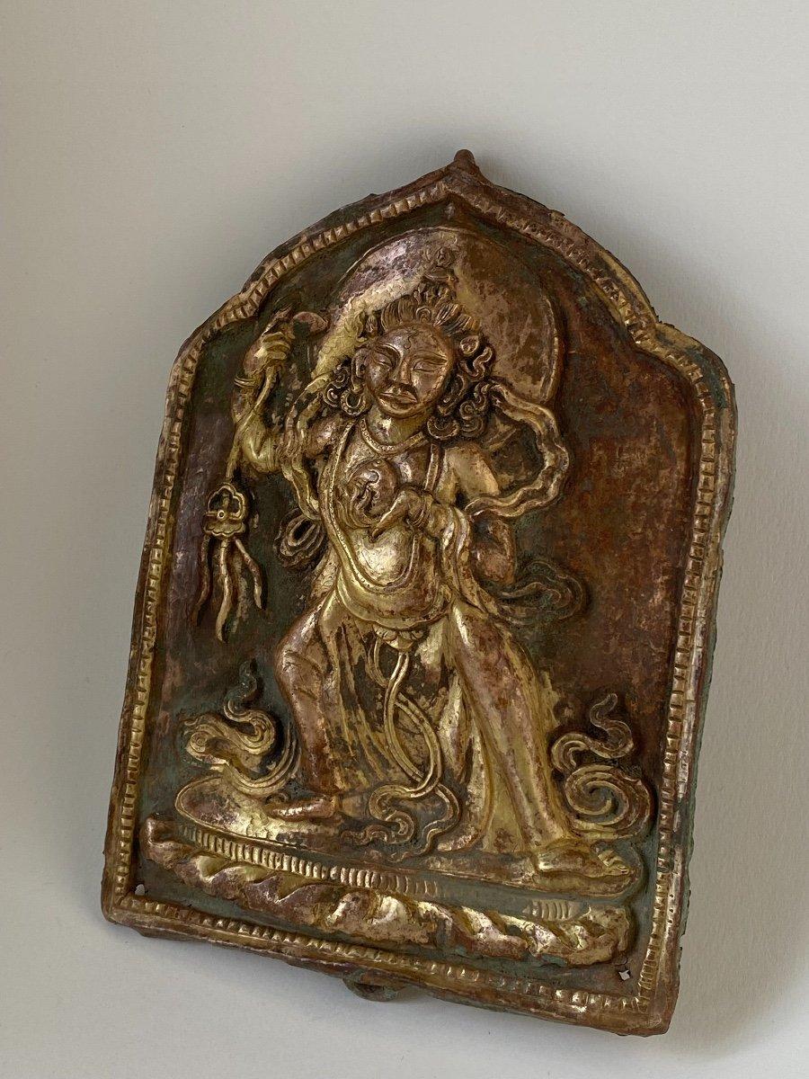 Divinité, repoussé doré, Népal 18ème-photo-2