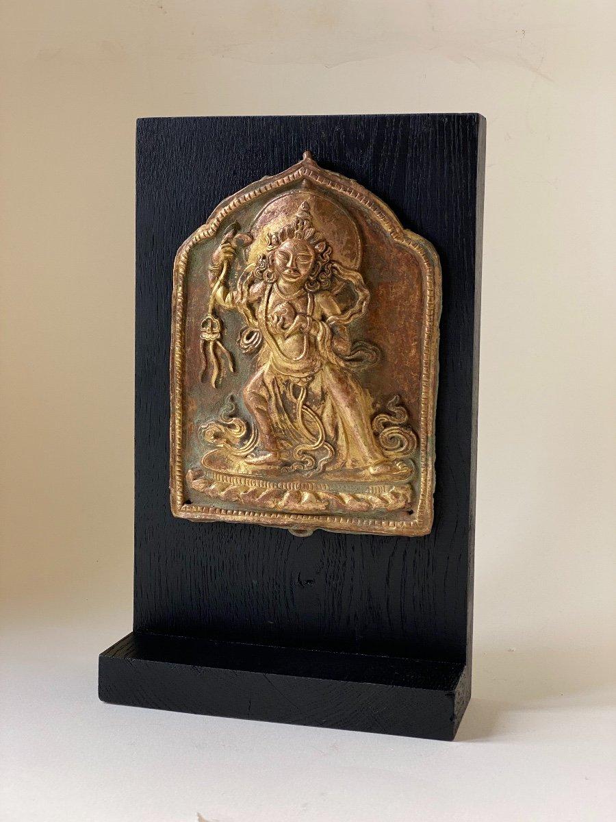 Divinité, repoussé doré, Népal 18ème