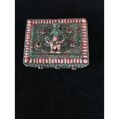 Boîte sertie de pierres, Tibet, XIXème
