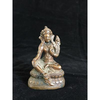 Small Bronze , Green Tara , Tibet Or Nepal XIXth