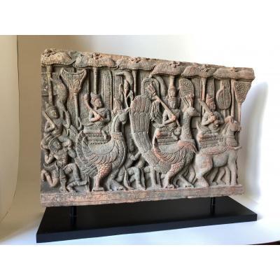 Khmer Frize Terracotta Circa XIX Th