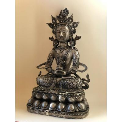 Bouddha Amitayus, cuivre argenté, 50 cm