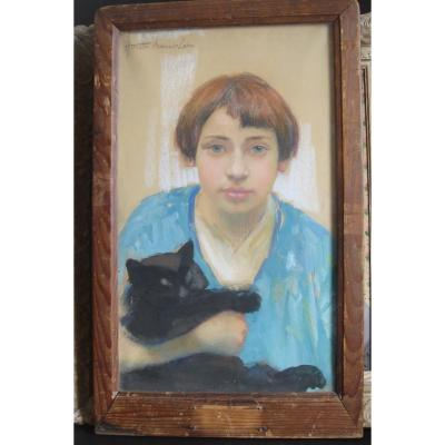 Portrait Of Young Teenage Girl With Her Cat Mireille Armand -cahn