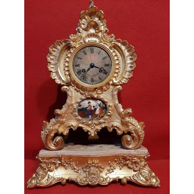 Pendule Cartel Style Louis XV En Stuc Dore.