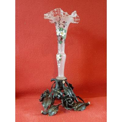 Vase Emaille d'Epoque Art Nouveau