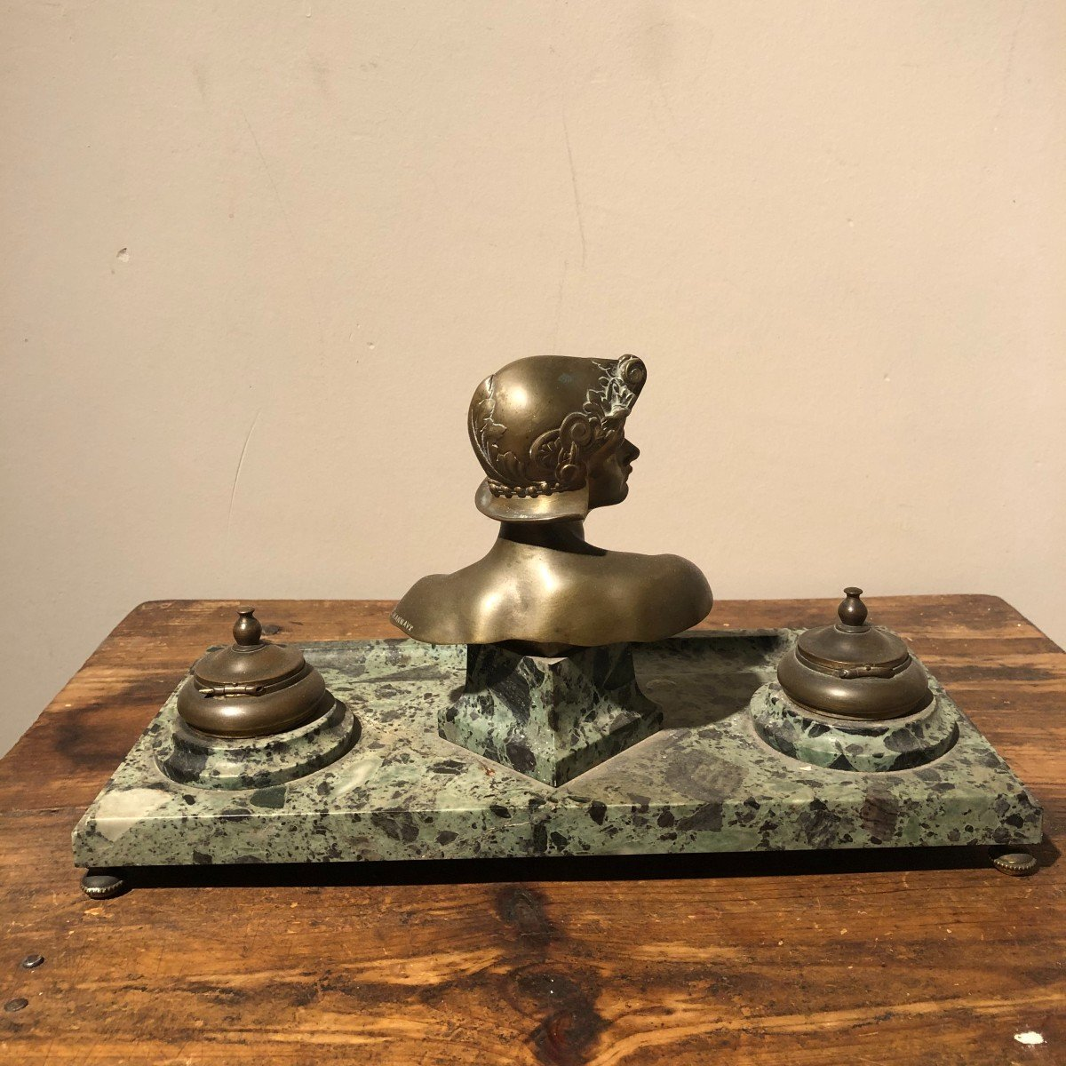 Inkwell In Marble And Bronze-photo-1