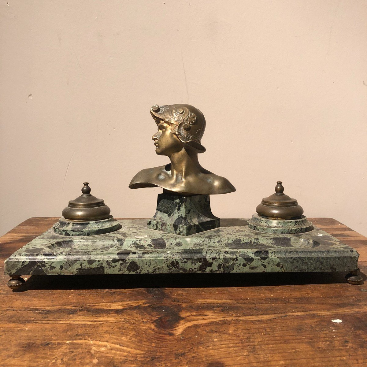 Inkwell In Marble And Bronze