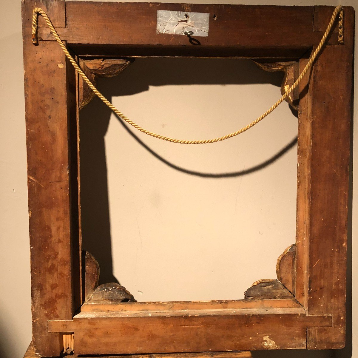 Spanish Frame In Carved Golden Wood From The End Of The Eighteenth Century.-photo-2