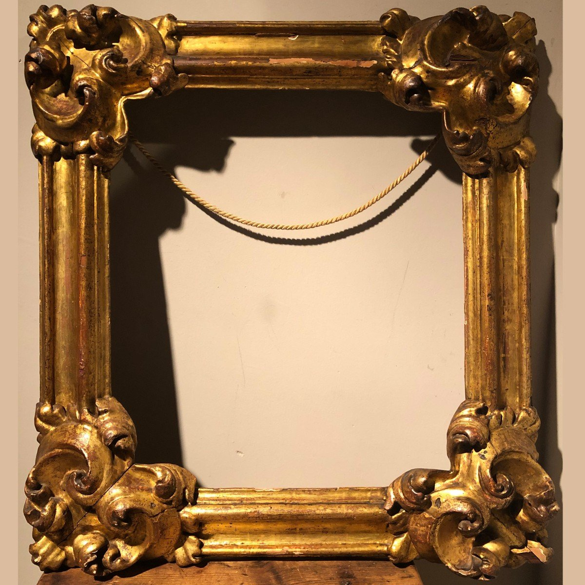 Spanish Frame In Carved Golden Wood From The End Of The Eighteenth Century.