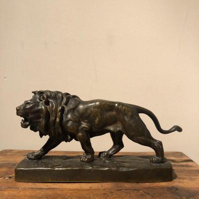 Lion En Bronze Signé XIXème Siècle