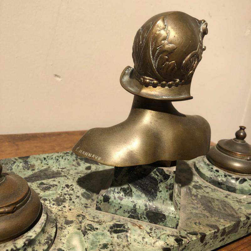 Inkwell In Marble And Bronze-photo-2