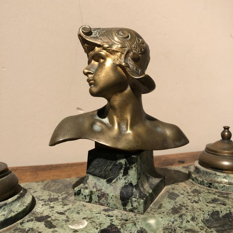 Inkwell In Marble And Bronze-photo-3
