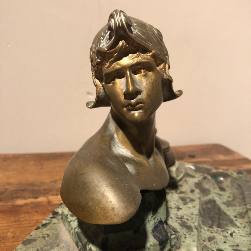 Inkwell In Marble And Bronze-photo-4