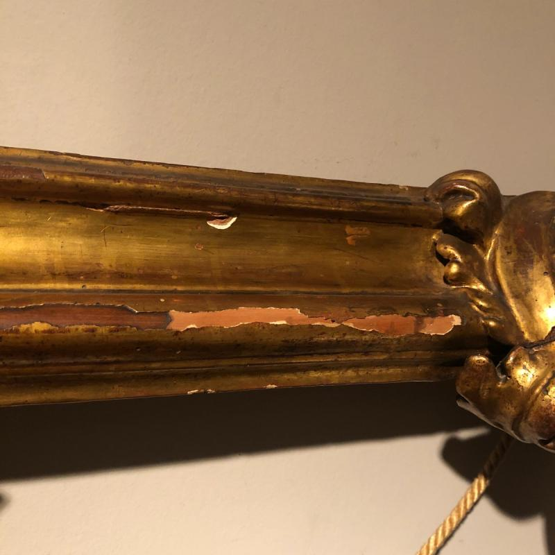 Spanish Frame In Carved Golden Wood From The End Of The Eighteenth Century.-photo-3