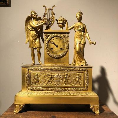 Late Gilt Bronze Clock, Empire Period