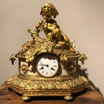 Horloge En Bronze Doré Et Marbre, XIXe siècle
