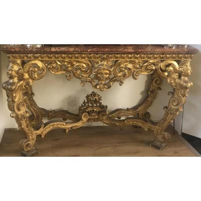 Grande Table Console En Bois Sculpté Et Doré Du XVIIème