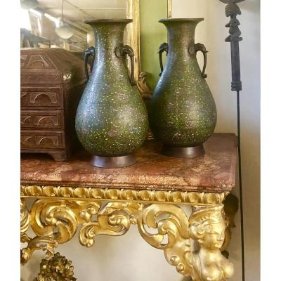 Great Pair Of Vases In Cloisonne And Bronze 1850