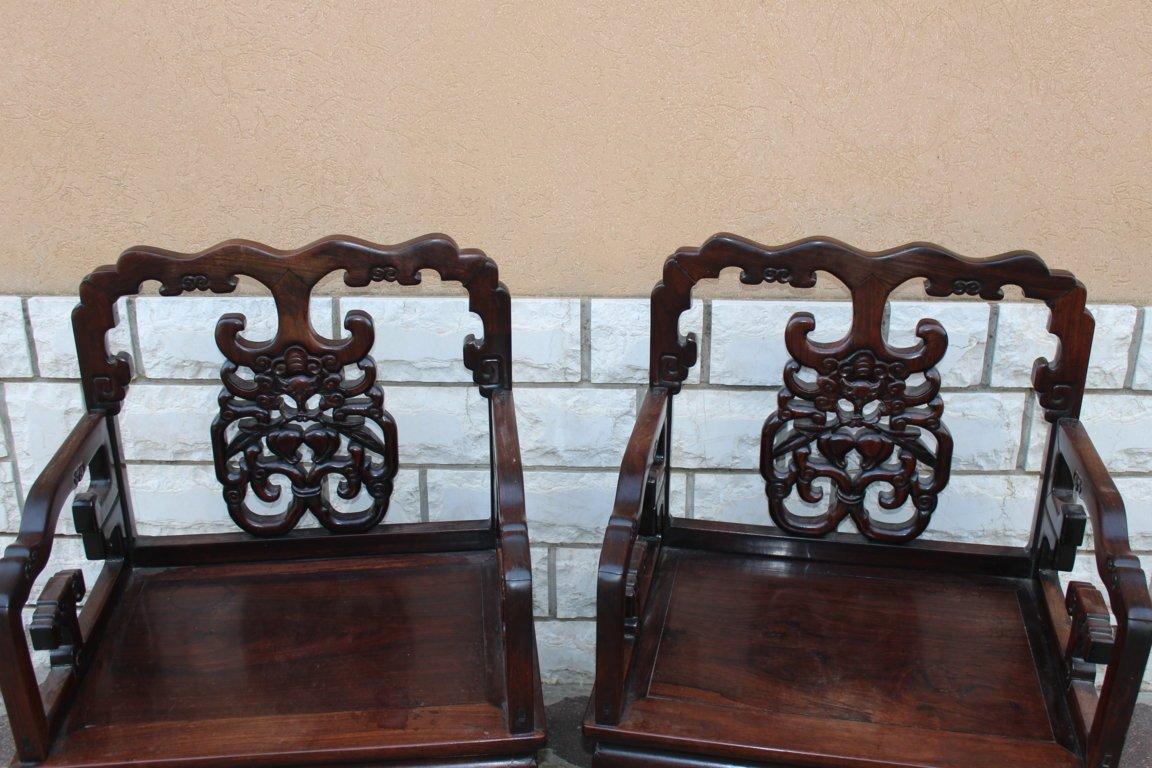 Pair Of Chinese Armchairs XIX Century Iron Wood (hongmu)