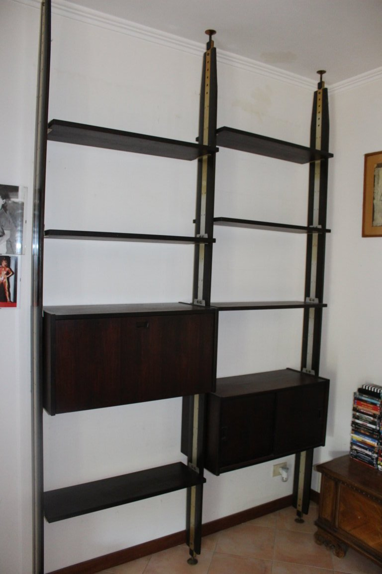 Furniture Italian Library Of Years '60 In Rosewood