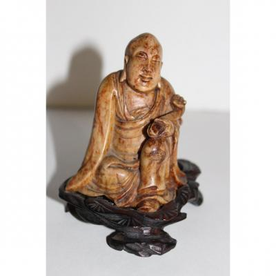 Chinese Statue In Soapstone XIX Century Lohan