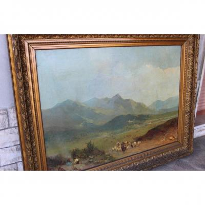 Large Oil Canvas, Mountain Landscape Attributed To The Italian Painter Paolo Sala