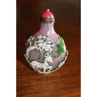 Chinese Snuff Bottle Glass Carved Dux Fine Colors XIX Century