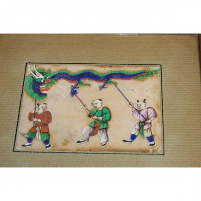Series Of 12 Chinese Gouache XIX Century On Map Of Rice China